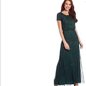 Adrianna Papell Blouson Beaded Gown- Dusty Emerald